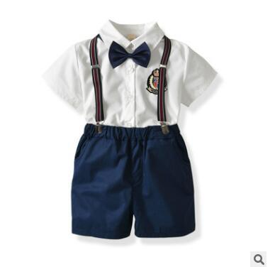 Baby Boy Clothes Outfits 2018 Summer Short Sleeve Newborn Baby Infant Clothing Sets Gentleman Shirt Tops Suit Bow Tie Suspender Shorts 6M-6Y