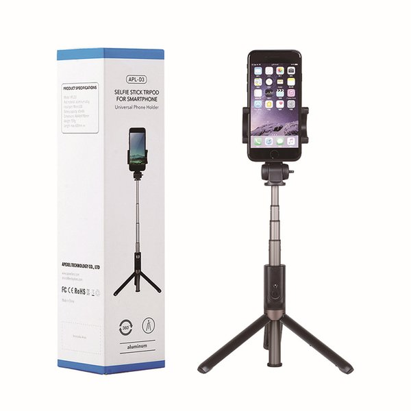 3 in 1 Portable Non-slip bluetooth Selfie Stick For IPhone 7 Samsung Galaxy S8 Built-in Shutter Camera Tripods Handheld Extendable Monopods