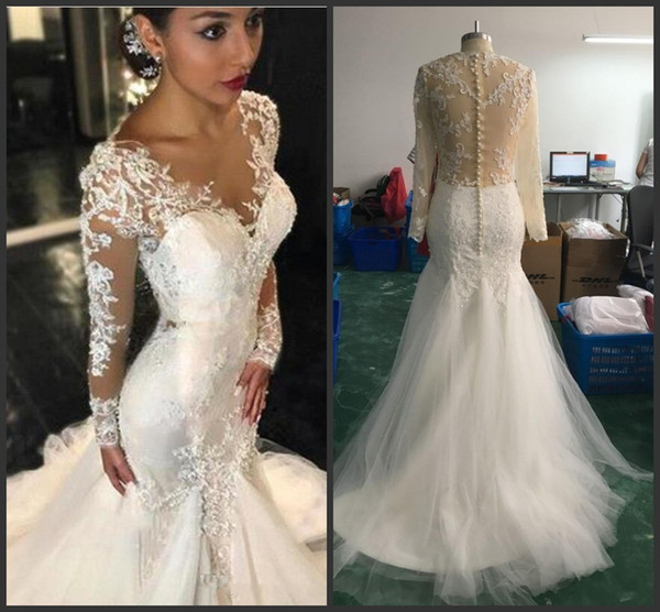 2018 New Gorgeous Lace Mermaid Wedding Dresses Dubai African Arabic Style Petite Long Sleeves Fishtail Custom Made Bridal Gowns with Buttons
