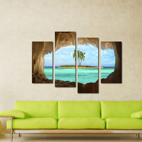 3Pieces Wall Decor Art Outside The Cave Coconut Tree Unframed Spray Printed Oil Painting On Canvas An Island Pintura