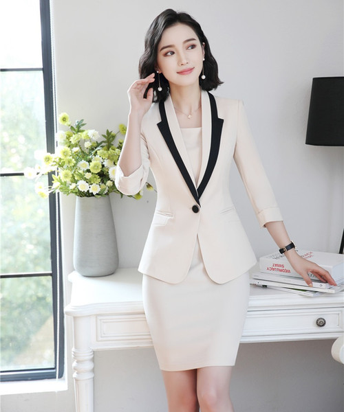 Fashion Ladies Dress Suits for Women Business Suits White Blazer and Jacket Sets Work Wear Office Uniform Styles