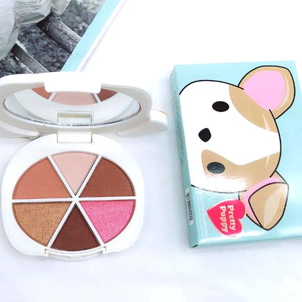 Новейшие макияж палитра довольно щенок 6 цветов палитры теней для век глаз косметика сталкивается палитра DHLl доставка