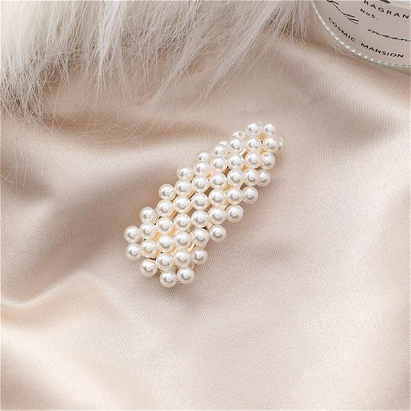 Elegante clip di capelli perla simulata piena forcine semplice geometrica triangolo Barrette donne ragazza festa nuziale diademi accessori