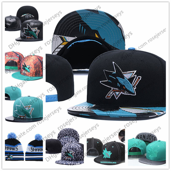 more photos b0d4d 293f1 San Jose Sharks Ice Hockey Knit Beanies Embroidery Adjustable Hat  Embroidered Snapback Caps Black Teal White