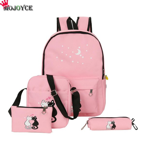 ackpack for teenager 4Pcs/set 2018 Canvas Women Backpack Schoolbag Printing Cute Cat School Bag Bagpack for Teenager Girls Sac a Dos Moch...