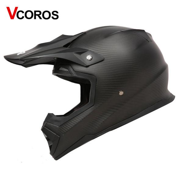 VCOROS adulto fibra de carbono fuera de carretera casco de la motocicleta THH campo a través de carreras de motos casco ECE aprobado ATV casco de motocross