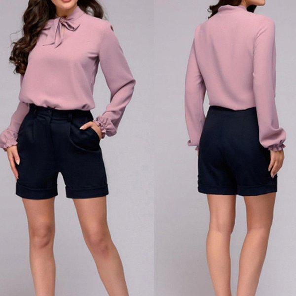 Fashion Formal Women Ladies Blouse Shorts 2 Style Long Sleeve Solid Belt Chiffon Slim Shirts Tops Size S/M/L/XL
