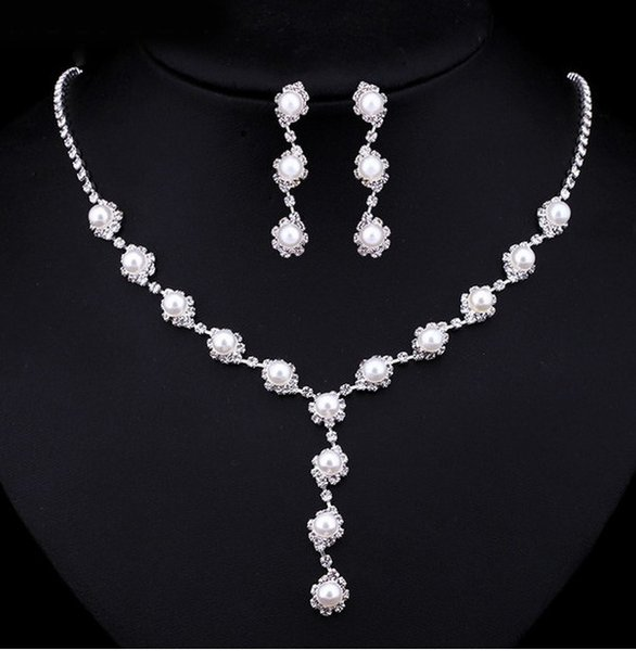 Set Of Jewelry Simple Fashion Imitation Pearl Silver Color Necklace