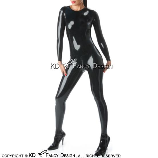 Black Sexy Latex Catsuit With Feet Socks Round Collar Back To Crotch Zipper Rubber Bodysuit Overall Zentai Body Suit LTY-0226