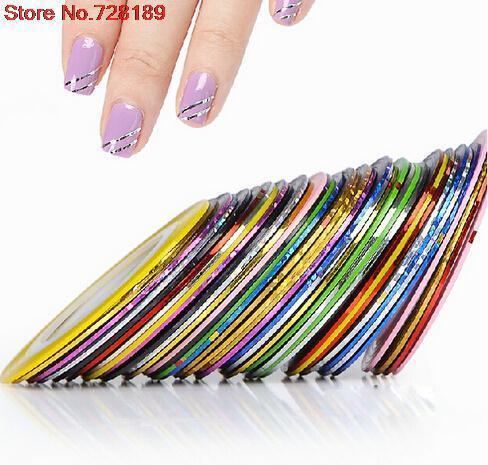 10 Pcs Mix Cores Rolls Striping Tape Line Nail Art Decoração Etiqueta DIY Dicas Prego Cuidados