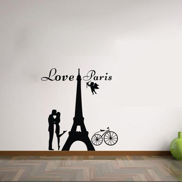 Acquista Love Paris Wall Stickers Camera Da Letto Decorazione Amanti  Kissing Stickers Murali Adesivi Rimovibili In Vinile Parete A $8.87 Dal ...