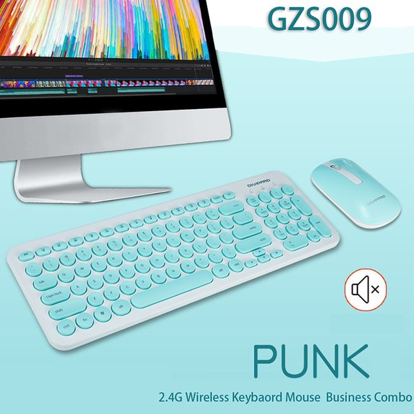 2.4GHz Wireless Keyboard and Mouse Combo Round Key Set Smart Power-saving Slim Combo Keyboard Mice for Laptop Computer