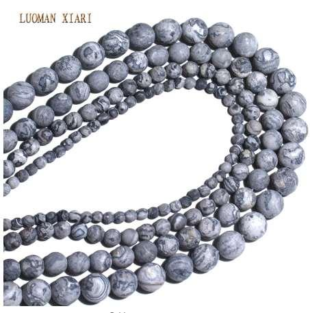 Wholesale Natural Dull Polish Map Matte Stone Beads For Jewelry Making DIY Bracelet Necklace 4/6/8/10 mm Strand 15''