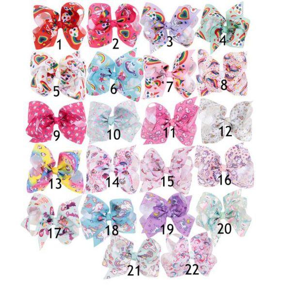 top popular 22 design Girls Unicorn Hair Bows big Paint Love Jojo Ombre Rainbow Bowknot Hairpins Headwear Bobbles Accessories KKA4559 2019