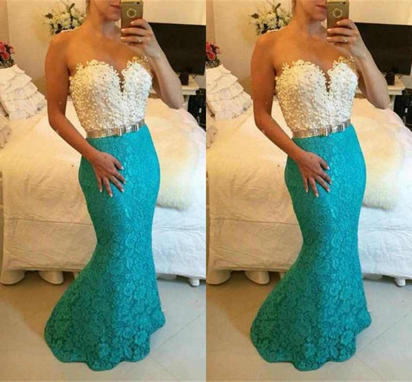 New Fashion Sleeveless Mermaid Prom Dresses Lace Appliques Floor Length Formal Evening Dresses