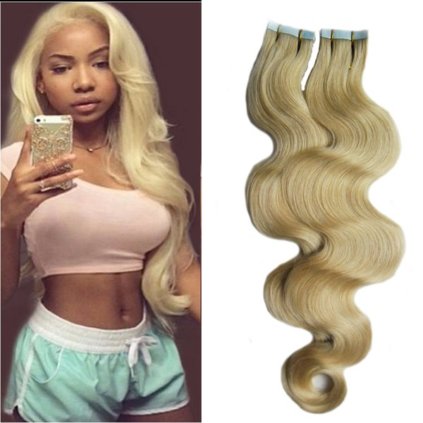 """Brazilian Body Wave Hair 18"""" 20"""" 22""""24"""" Machine Made Remy Human Hair Extensions 2.5g/stand 40pcs/pack Blonde Tape In Hair Skin Weft 100g"""