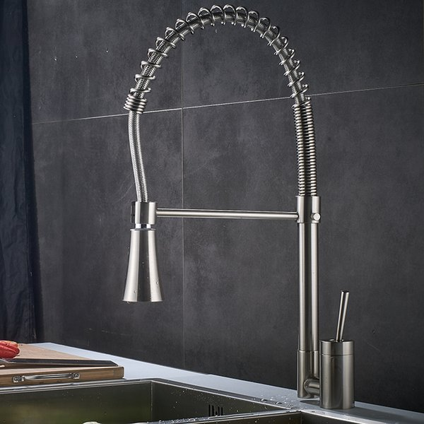 Hot Cold Water Kitchen Faucet Nickel Brushed Deck Mounted Pull Down Rotatable Handle Spray Kitchen Mixer Tap