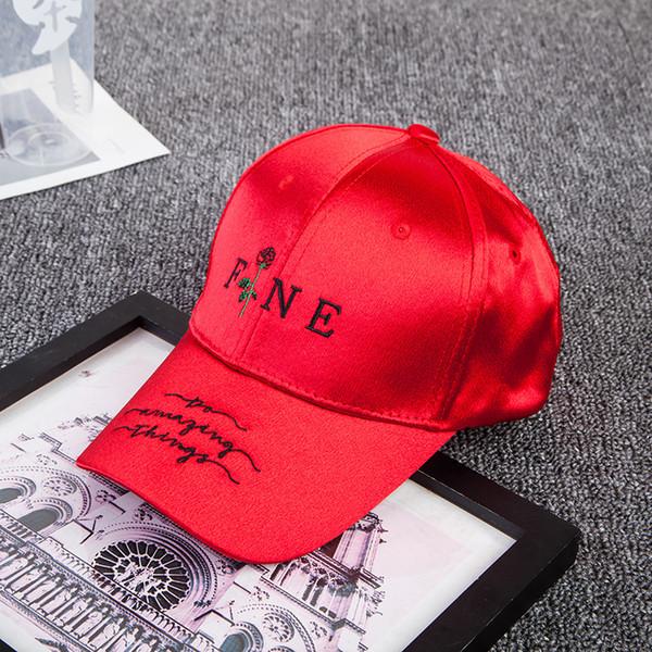 Red Navy Blue Black White baseball cap women men Hip hop Fine letter rose Rapper DJ Popping Locking Jazz Waacking cap sun hat