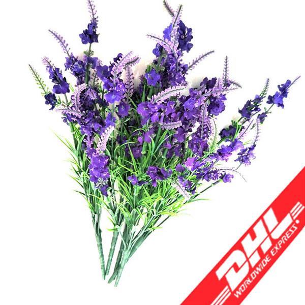Heads Silk Lavender Artificial Flower Vivid Silk Bouquets Romantic Flowers For Wedding Table Decoration Home Decor Gift (Dark Purple)