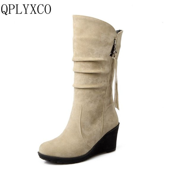 QPLYXCO 2017 new sale big small Size 28-52 Mid-Calf Boots Winter Warm Short Plush Boots Women wedges high Heeled Shoes 188-2