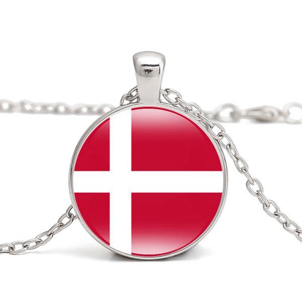 Danimarca Bandiera Pendente Collana Europa del Nord Paese Islanda Finlandia Norvegia Svezia I Love Hometown Uomo Donna Gioielli Commercio all'ingrosso