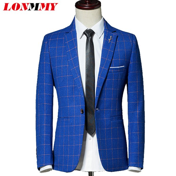 LONMMY Casual blazer men Suits & Blazer stage men suits for wedding Slim fit Casaco masculino jacket male clothing Plaid 2018