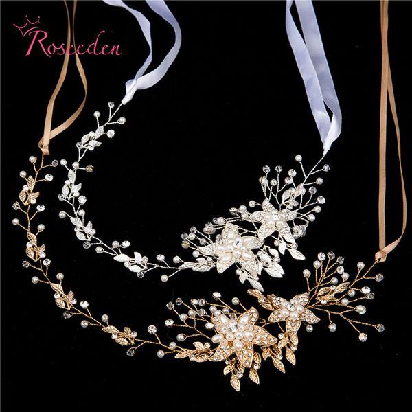 Joyería nupcial del banquete de boda Astilla de oro Hojas Perlas Diademas Flor Cabeza Novia Vendas de pelo vintage RE587