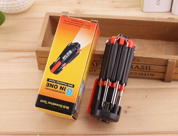 8 en 1 destornillador multifuncional conjunto de herramientas conjunto de herramientas con 6 linterna LED potente 6 LED antorcha en recuadro de color