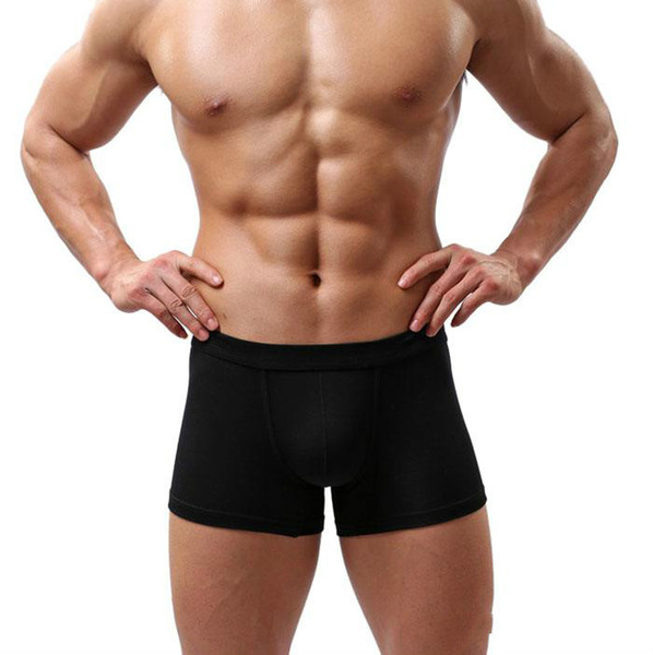 New Sexy Men Underwear Preto Branco 2017 Moda Mens Boxer Shorts Bulge Pouch Cuecas Macias 5 pçs / lote