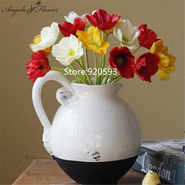 Colorful PU Real Touch Artificial Corn Poppy Silk Decorative Flowers for Home and Wedding Decoration 11pcs /Lot