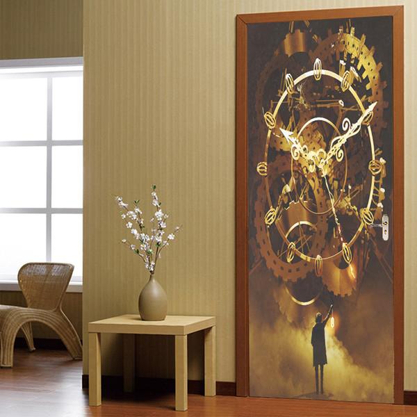 Criativo Clássico relógio 3D Ver Porta Adesivo Mural PVC Auto-adesivo Removível À Prova D 'Água Decalque Quarto Moderno Sala de estar decoração de casa