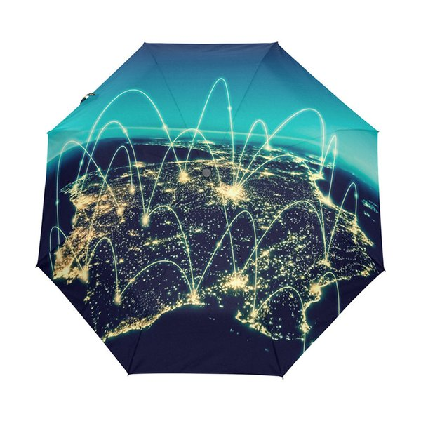 Physical World Map Illustration Umbrella Rain Women Sun Rain Automatic Folding Umbrellas Men Small Umbrella with Black Coating