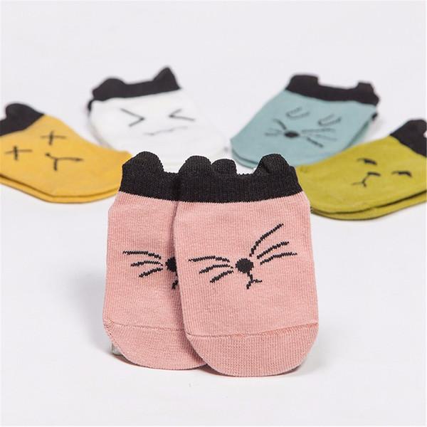 Kids Boys Girls Baby Socks Fashion Cute Print Cat Cotton Soft Floor Toddler Infant Socks Anti Slip