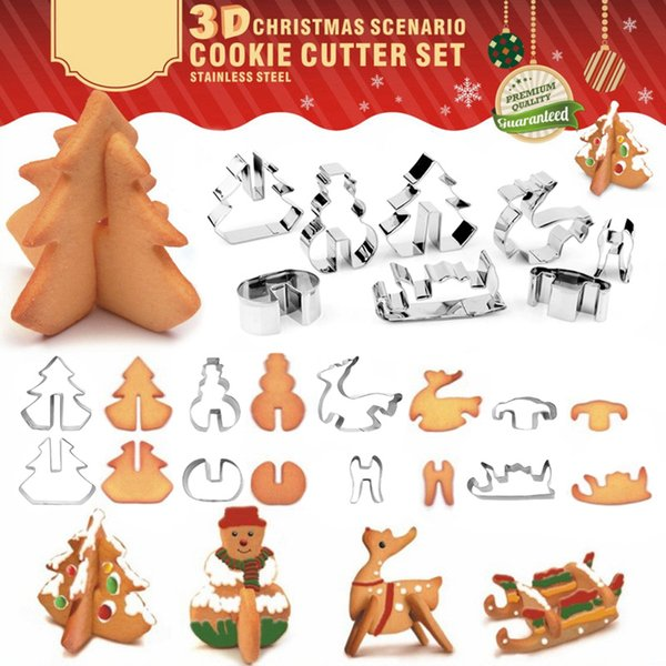 Newly 8 Pcs Stainless Steel 3D Xmas Tree Elk Snowman Biscuit Cookie Cutter Baking Mold Tools