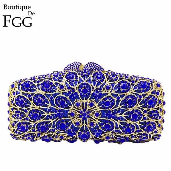 Boutique De FGG Royal Blue Flower Hollow Out Crystal Women Evening Metal Clutches Bag Wedding Dinner Party Clutch Handbag Purse