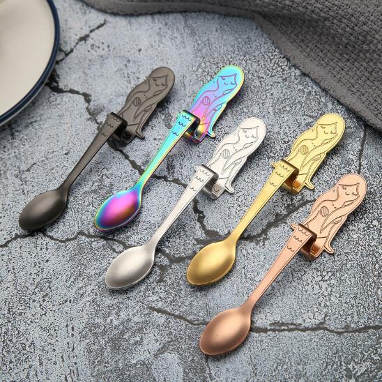 top popular 5 Colors Coffee Spoons Stainless Steel Mermaid Spoons Stir-hanging Coffee Spoon Dessert Spoon Creative Tableware CCA8796 100pcs 2019
