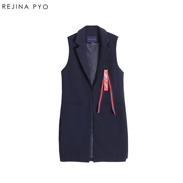 REJINAPYO Women Elegant Solid Long Vest Coat Office Lady Single Button All-match Long Vest Outerwear Autumn New Arrival