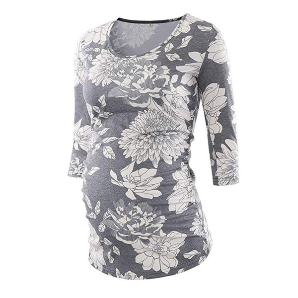 e887f885e5ce7 Womens Mama Maternity Tunic Tops Women's Side Ruched 3/4 Sleeve Maternity  Scoopneck T Shirt