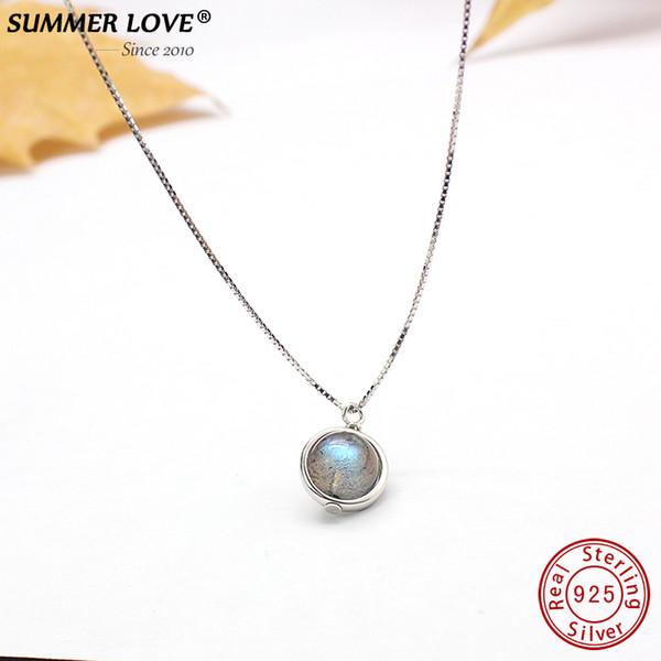 Genuine S925 Sterling Silver Labradorite Pendant Necklace For Women Fine Jewelry Nature Gemstone Handmade bijoux femme Y18102910