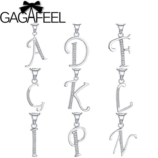 GAGAFEEL Classic Alphabet Letter Pendants for Women Girls Kids Authentic 925 Sterling Silver Letters Pendant Chains Crystal Gift