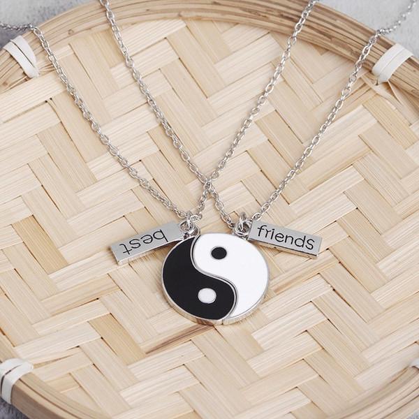 1set/ 2pcs Silver Enamel Black White Tai Chi Ying Yang Pendant Necklace Best Friend Couples Necklace, Gift for Friends