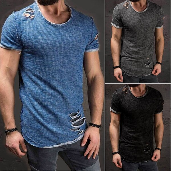 Wholesale-Ripped Men'S Slim Fit Muscle O-Neck Distressed Tee Hole New Hot Tops Shirt Casual Short Sleeve Frayed T-Shirts