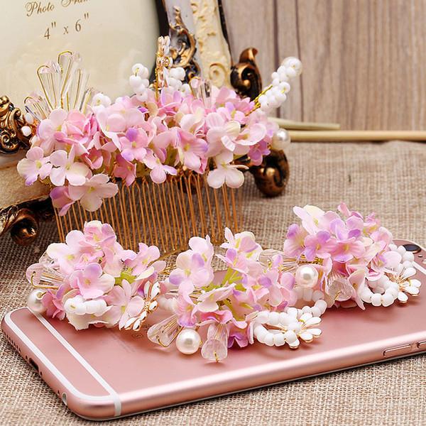 4pcs Sets rosa Blume Haarnadeln Kämme Sets für Braut Mori handgemachte rosa Blume Haarschmuck Tiara Hochzeit Haarschmuck