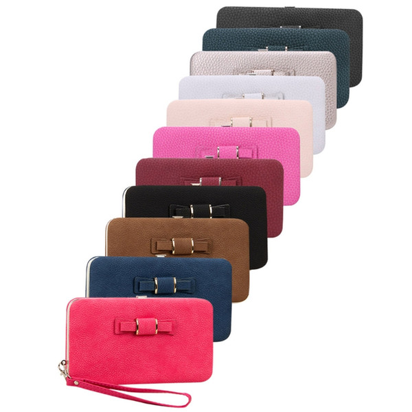 NoEnName_Null Portefeuille En Cuir De Haute Qualité Pour Dames Multi Feature Mobile Phone Bag Bowknot Portefeuille Long Embrayage Bourse Sac À Main