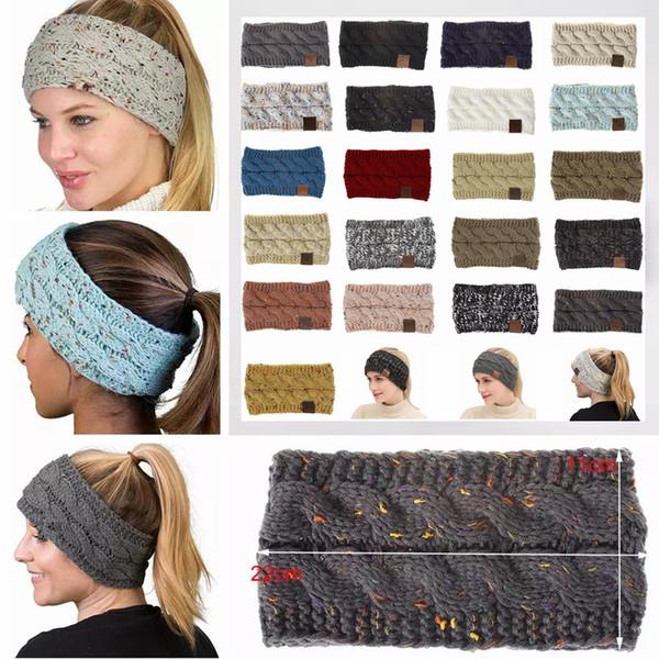 best selling 21Colors Knitted Crochet Headband Women Winter Sports Headwrap Hairband Turban Head Band Ear Warmer Beanie Cap Headbands AAA836-1 50pcs