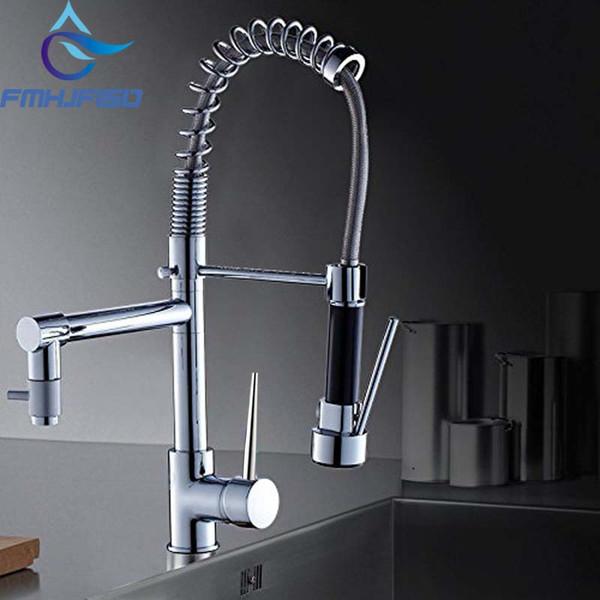Venda quente Chrome Latão Primavera Torneira Da Cozinha Único Punho Buraco Dupla Pulverizador Navio Bar Sink Faucet Mixer Tap