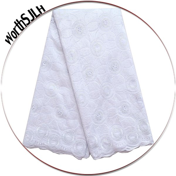 Wholesales Latest African Voile Laces 2018 In Switzerland 5 Yards African Dry White Lace Fabric Lilac Nigerian Lace Fabrics