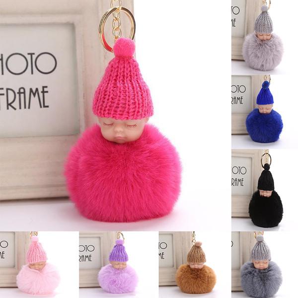 2018 Dolce Pompon Sleeping catena chiave del bambino Faux Rabbit Fur Pom pon Hat lavorato a maglia Baby Doll Portachiavi Auto Portachiavi Giocattolo Trendy TC180913 100 PZ