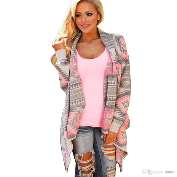 Wholesale-Retro Style Ladies Knitted Cardigan Winter Stylish Collarless Long Sleeve Tribal Print Asymmetrical Women Warm Sweaters for Girl