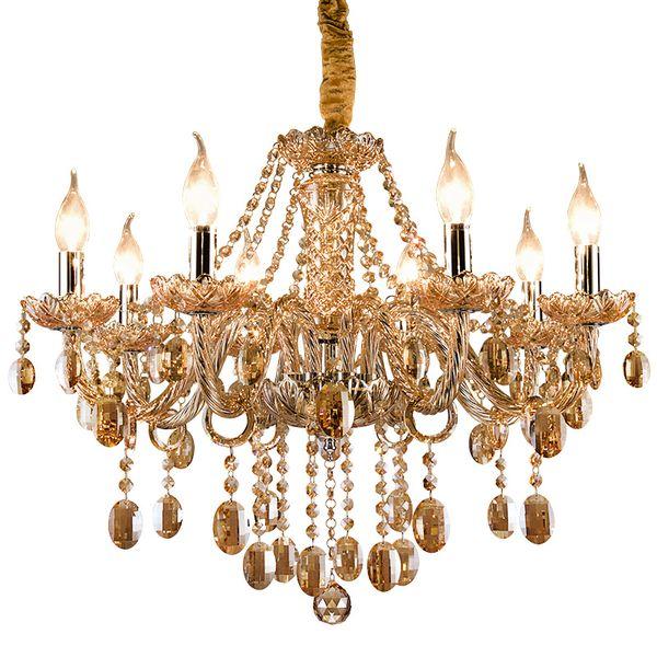 Vintage cognac crystal chandelier lustre retro home lighting chandeliers fabric lampshade living room villa hotel hanging lights